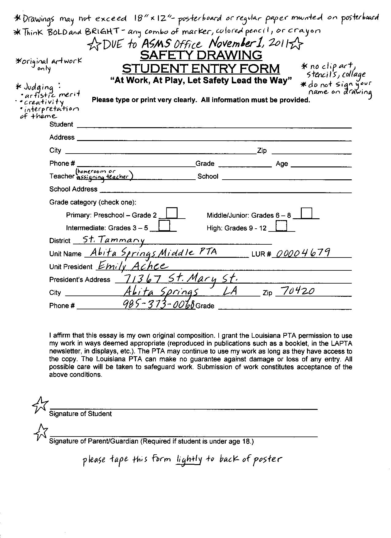asms pta safety drawing entry form